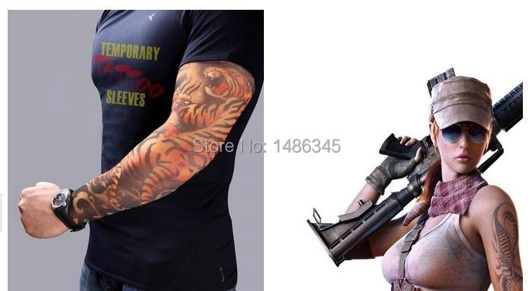 2015 New Fashion Punk 2Pcs Men Women Tamporary Charm UV Skull Theme Fake Tattoo Arm Sleeves Arm Warmers Free Shipping(China (Mainland))