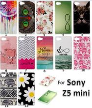 screen Flim+Z5 Compact Cute Printer Pattern Ultra Thin TPU case, Soft Gel TPU Cell Phone case For Sony Xperia Z5 Compact Z5 mini(China (Mainland))