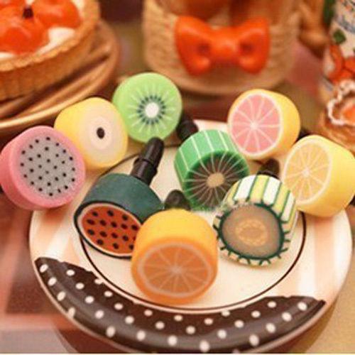 10Pcs Fruit 3.5mm Anti Dust Earphone Headphone Jack Plug For iPhone iPad Samsung(China (Mainland))