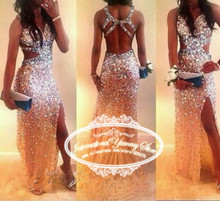 2015 Long Mermaid Gold Evening Dress Formal Dresses with Crystals and Stones vestidos de noche(China (Mainland))