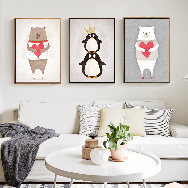 Cute Cartoon Animals Bear Hippo Penguins A4 Print Painting Poster Kids Bedroom Wall Picture for Home No Frame Home Decor(China (Mainland))