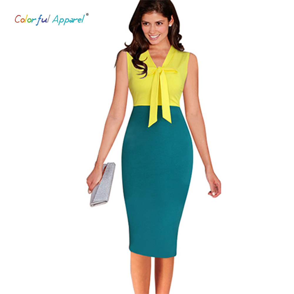 buy colorful apparel womens summer elegant colorblock sleeveless bowknot wear to work business casual sheath dress ca288a - Color Block Vetement