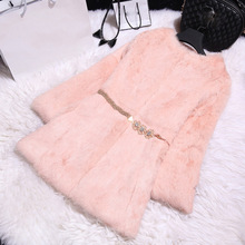 Autumn and winter new 2016 slim long women's full pelt rabbit fur coat outerwear women jacket plus size S-6XL free shipping(China (Mainland))
