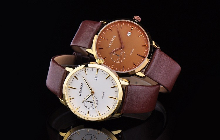 2016 Top brand мужчины наручные часы водонепроницаемые спортивные часы мужчины ремень из натуральной кожи luxury бизнес кварцевые наручные часы
