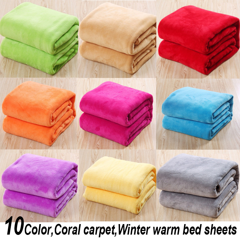 150*200cm 2014 New Summer 100% coral fleece flannel fabric blanket  super soft air-condition blanket 10 pure color(China (Mainland))