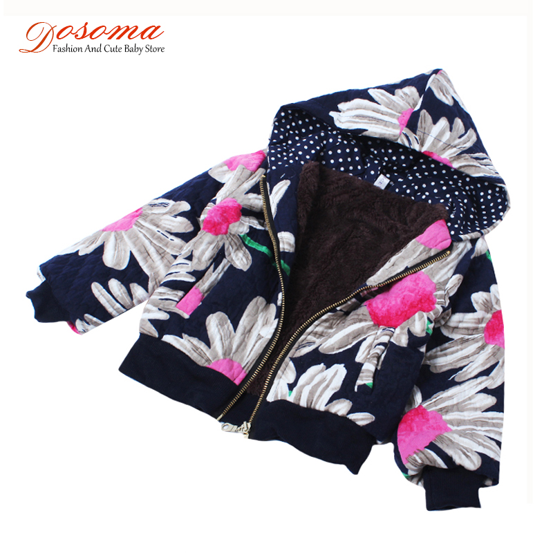 2016 new autumn winter baby girls outerwear fleece jackets korean clothes kids printed flower children thick warm hoodied coats - Fashion and Cute Baby Store store