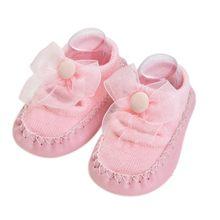 Носки для малышей с резиновой подошвой; носки для младенцев с бантом; детские носки-тапочки для новорожденных; сезон осень-зима; противоскол...(China)