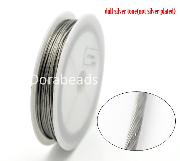 Silver Tone Steel Beading Wire 1mm, sold per lot of 1 roll(9M) (B16254), yiwu(China (Mainland))