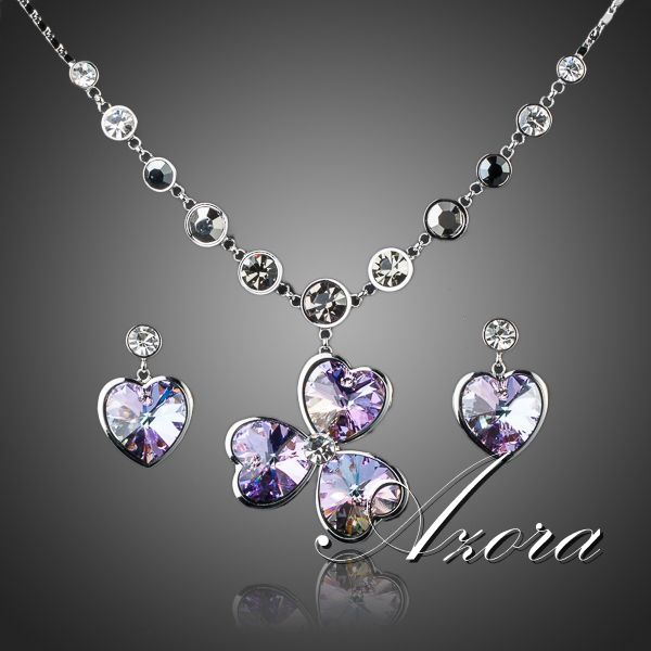 Platinum Plated SWA ELEMENTS Austrian Crystal Heart Drop Earrings and Flower Pendant Necklace Set FREE SHIPPING!(Azora TG0041)<br><br>Aliexpress
