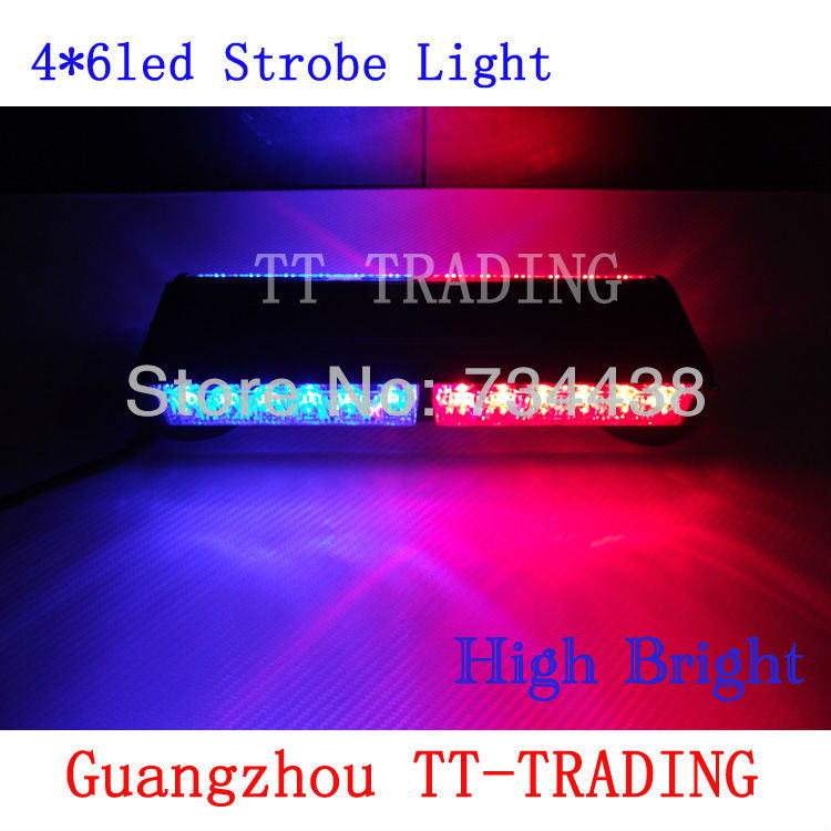 Vehicle roof Strobe Lights 24 LED Warning light Auto Bumper Light led mini light bar with magnet DC 12V red blue white amber(China (Mainland))
