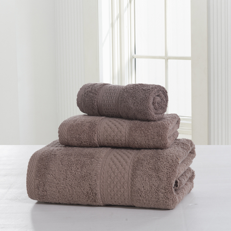 3-Pieces Solid Color 100% Cotton Towel Sets Extremely Absorbent Bath Towel For Adults Face Towels Washcloth Small Towel Durable(China (Mainland))