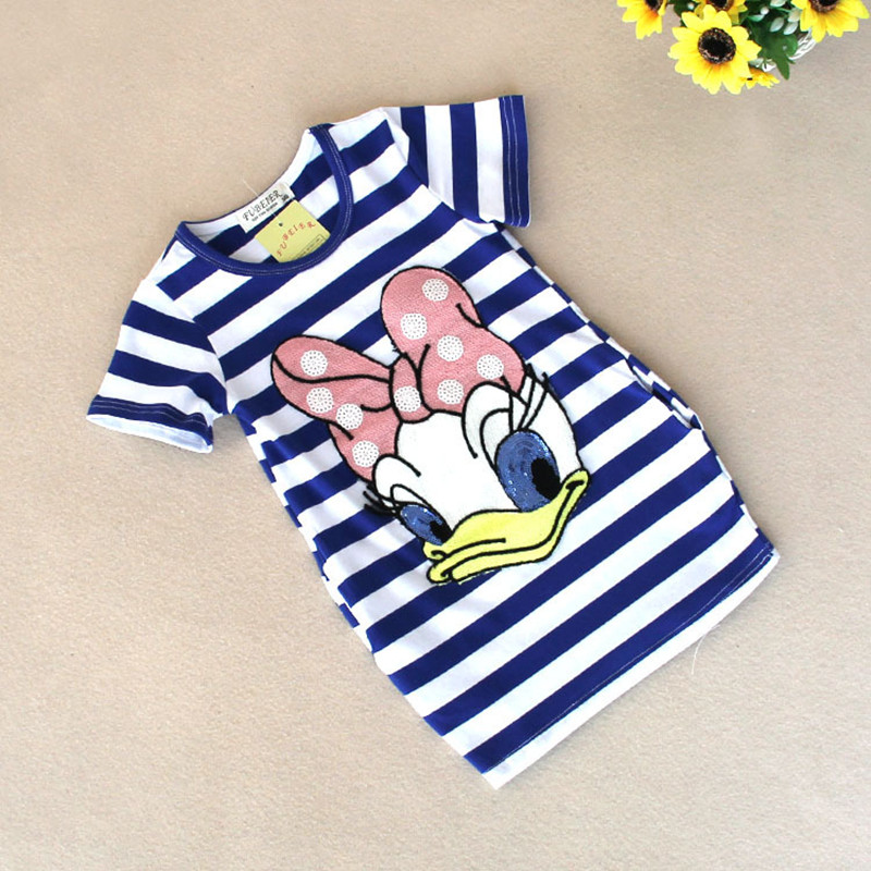 2016 latest summer girls striped dress children cartoon Donald Duck the two sides in my pocket