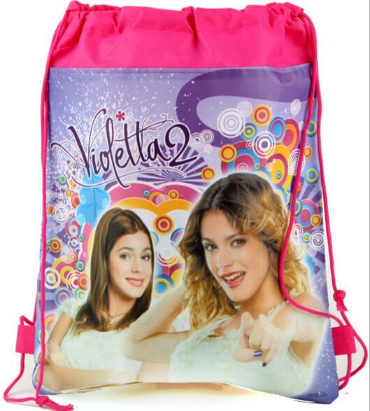 Kids Cartoon Printed Drawstring Bag Backpacks Baby Boys Children School Bags Mochila Infantil Violetta Girl Avengers For Gift(China (Mainland))