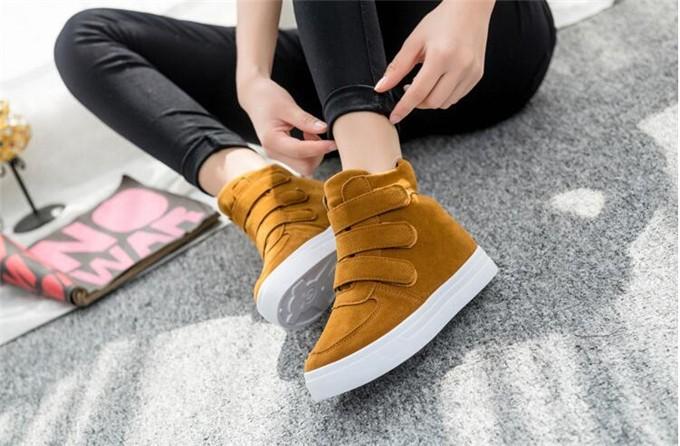 Platform Women Shoes 2017 new hot Autumn Korean Hidden Heel Flock Fashion Wedge Casual Shoes Flats Woman zapatos mujer Plus size