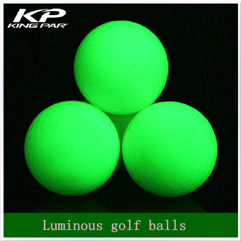 Fluorescent Night luminous indoor golf 4 light balls glow in the dark for practice golf training sports Two piece ball(China (Mainland))