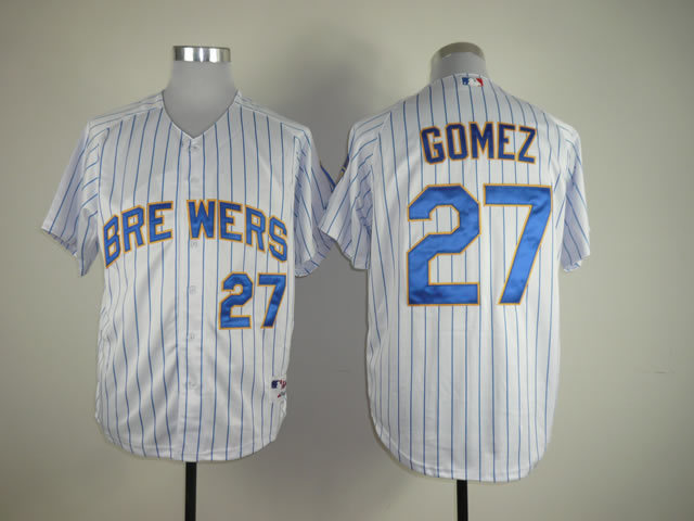 Milwaukee Brewers Jersey Mens Baseball Jersey Embroidery Logos Mix Orders #27 Carlos Gomez White Striped Best 1973(China (Mainland))