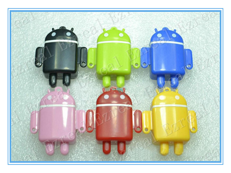 Mini android robot MP3 player factory price With MicroSD / TF card slot mp3 player + earphone + usb cable wholesale(China (Mainland))