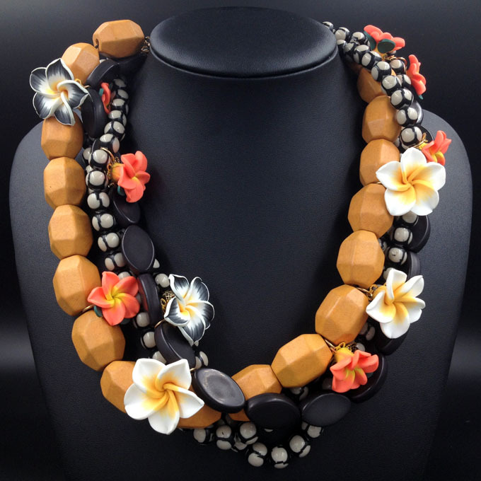 2014 NEW Wooden bead fashion Polymer clay collar bib Necklaces & Pendants costume statement necklace choker Necklaces for women(China (Mainland))
