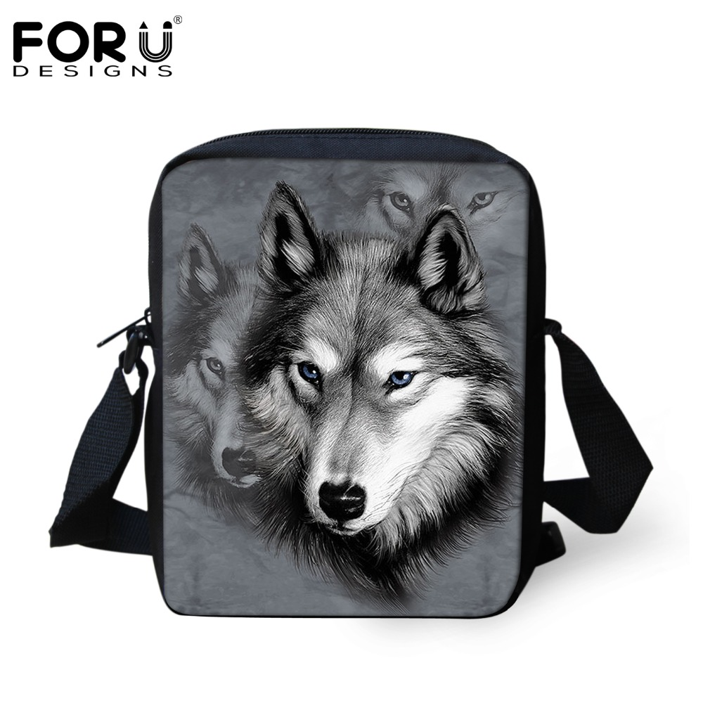 New Brand Designers Men Messenger Bags 3D Zoo Animals Wolf Printed Male Shoulder Bags Cool Pet Dog Husky Cross Body Bags For Boy(China (Mainland))