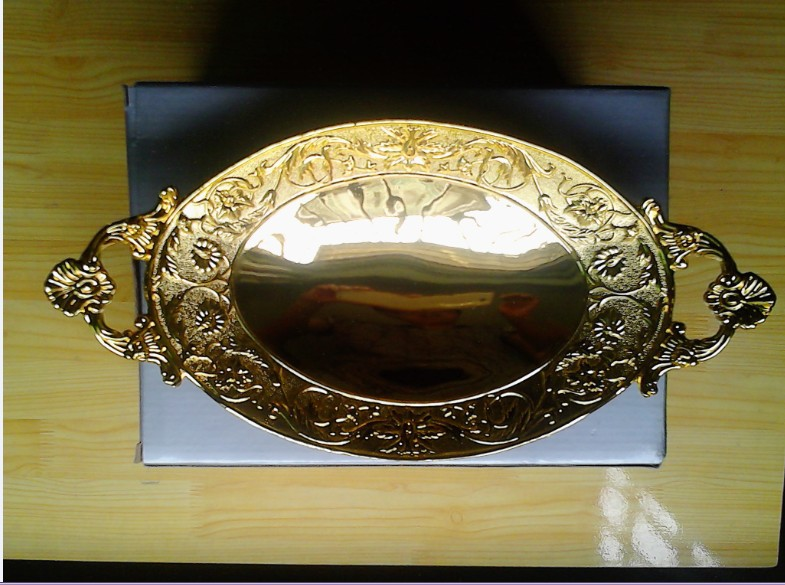 Free shipping Golden plated oval fruit tray. decorative metal tray wedding decoration bowl(China (Mainland))
