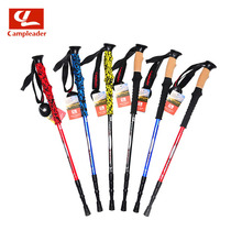 2016 New Brand Outdoor Hiking Alpenstock Telescopic Aluminum Alloy Camping Cork-handle Walking Stick 3 Sections Damping System