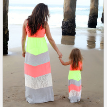 Long Dress for Mother Daughter Vest Striped Dress Family Set Girl Baby Dress Family Matching Clothes Women Large Dress 3XL