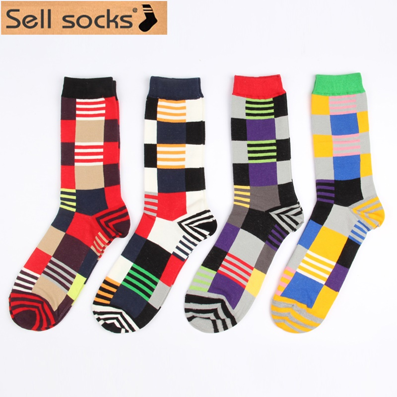 New 2015 winter long business cotton socks for men Grid stripe mosaic women colorful size EUR 37-44 FG05(China (Mainland))