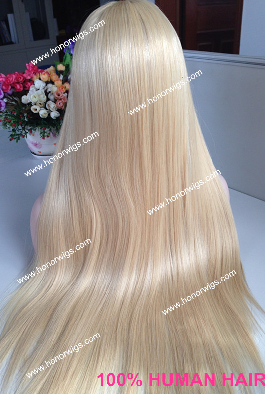 Silk straight #613 cheap blond jewish wig lace front wig stock(China (Mainland))
