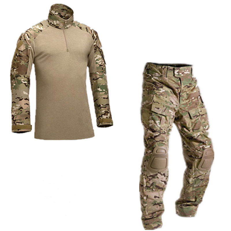 2015New Tactical military uniform clothing army military combat uniform tactical pants with knee pads camouflage hunting clothes(China (Mainland))
