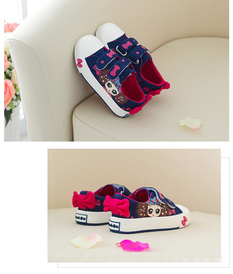 Girls Canvas Shoes Children Sneakers Spring Autumn Kids Sneakers Hand-decorated Bow Girls Lovely Princess Bow Sports Shoes (1)