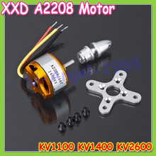 1pcs Brushless DC Electric Motor A2208 KV1100 KV1400 KV2600 for RC Airplanes/Boat/Vehicle Model Glider Plane Kit(China (Mainland))