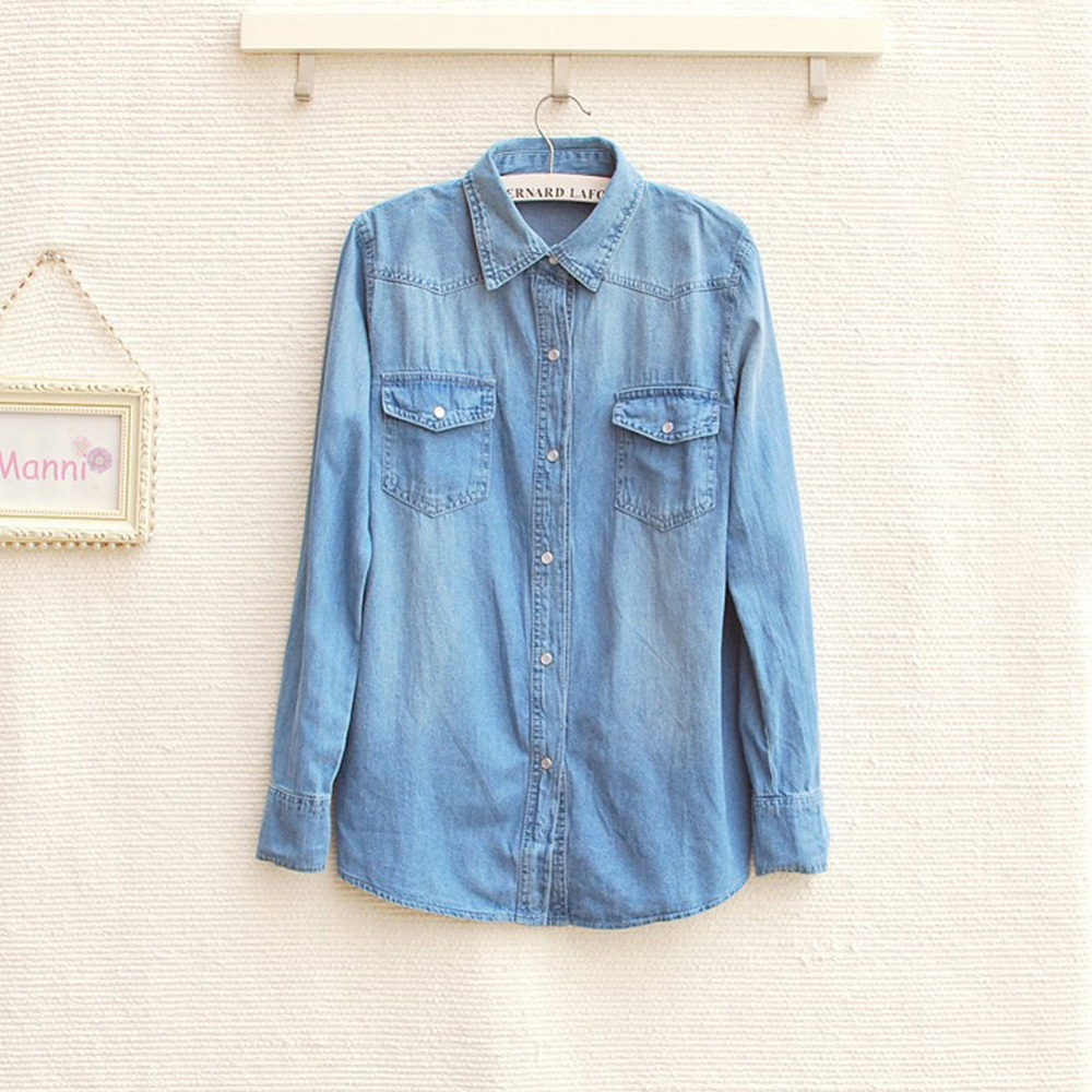2015 women vintage blue jeans shirts denim casual shirt for Blue denim shirt for womens