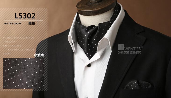 Black Ascot Cravat(Scarf )+Pocket Square 1set/lot L5302 Dot 100% Silk Jacquard Ties Free shipping(China (Mainland))