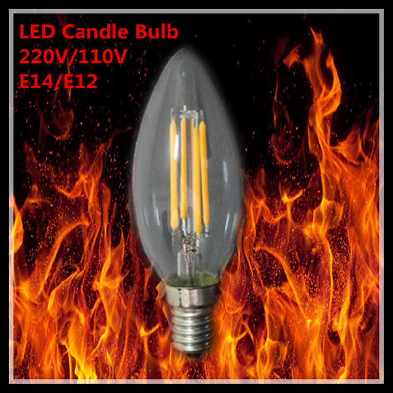6X led bulb E14 E12 4W 6W 9W B10 Bent top retro LED Filament light ampoule LED light Bulbs E14 candle lamps 110V 220VAC(China (Mainland))