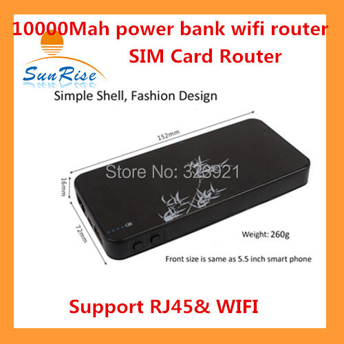Smart Moblie power bank 3G wifi router with sim card slot 10000Mah 3G WCDMA&EVDO Power bank wifi SIM router with RJ45(China (Mainland))