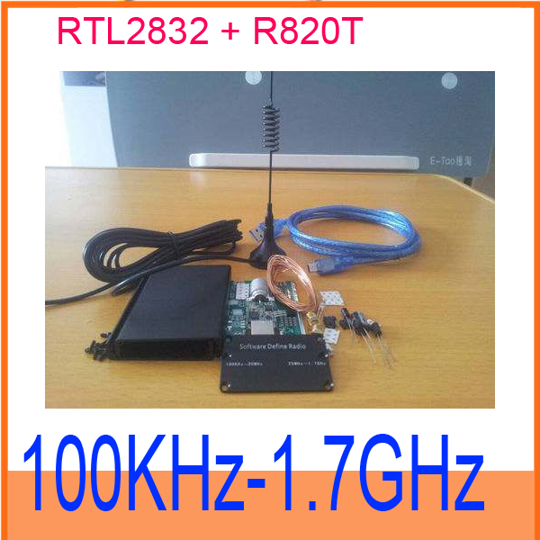 DIY KIT 100 KHZ to 1.7 GHz all band radio RTL the SDR receiver RTL2832 + R820T AM Free shipping / tracking number(China (Mainland))