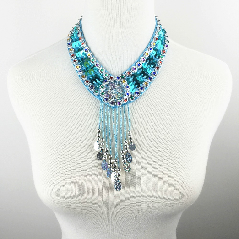 12 Colors Cheap Dance Jewelry Oriental Dance Costume Accessories Sequins Beaded Adjustable Belly Dance Necklace Oriental Jewelry(China (Mainland))