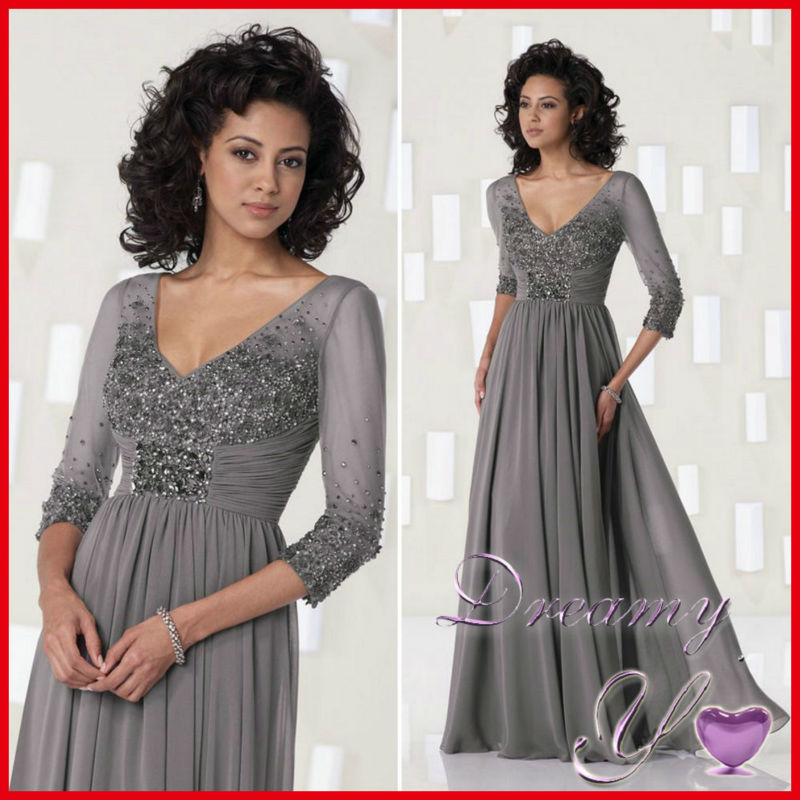 Grey color v neck beading chiffon casual mother of bride for Mother of the bride dresses casual wedding