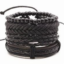 New Punk Vintage Rope Handmade Bead Woven Leather Men Bracelets Women Bangles Female Rock Homme Men Jewelry Accessories 4pcs/set(China (Mainland))