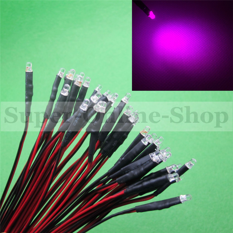50 x 3MM LED Pre-Wired Resistor 12v Pink Bright Emitting Diod Round Top 12V DC 20 CM Pre Wired Diodes Led Lamp Light For DIY(China (Mainland))