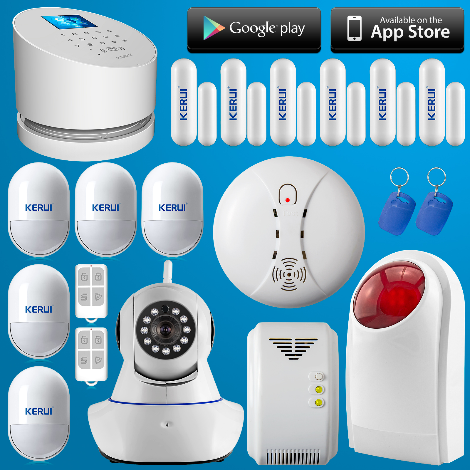 Outdoor Siren wifi alarm system Wireless W2 Wifi GSM PSTN line telephone burglar IP camera alarm system+RFID gas smoke detector<br><br>Aliexpress
