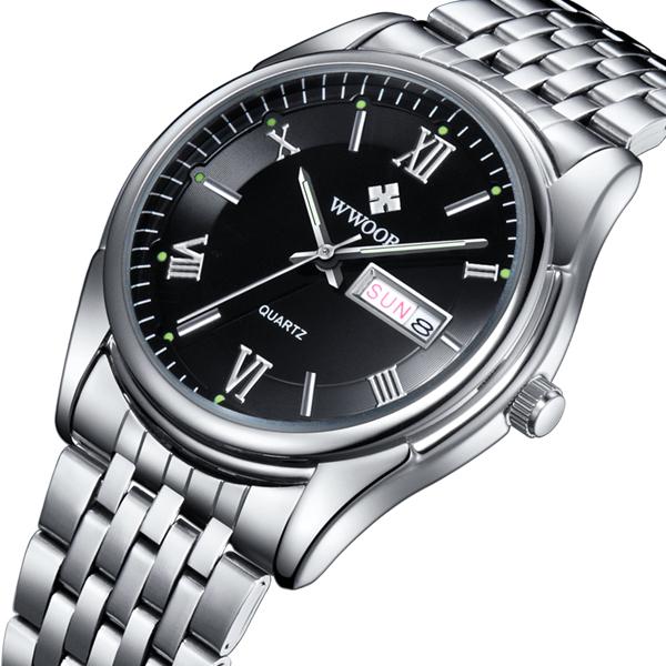 2016 New Brand WWOOR sports watches Men's stainless steel Strap Auto Date Quartz Business Watch Men Wristwatch relogio masculino