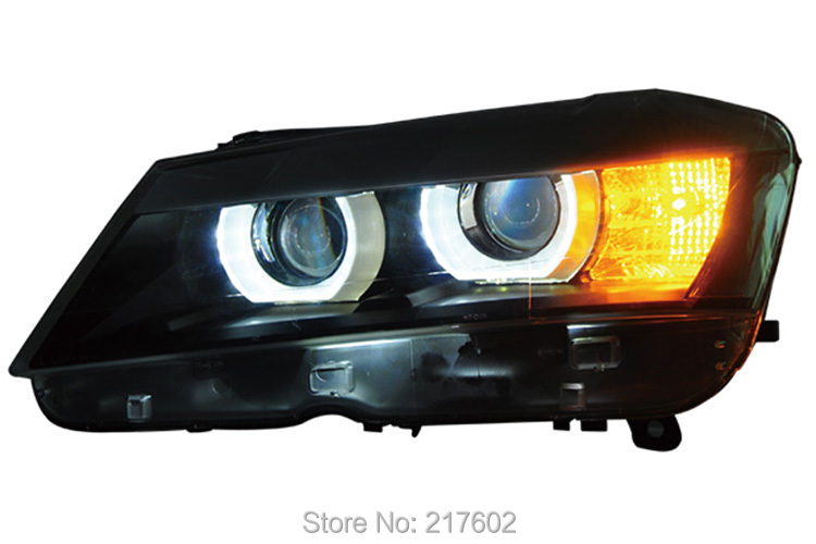 for BMW X3 2012 Projector Head lamps LED Angel Eye DRL light Low beam dual lens high beam project lens High H7 Low H7 Black type(China (Mainland))
