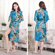 Hot Sale 2015 New Women Stain Robes Sleepwears Animal Kimono Pajamas Casual Bathrobe Long Sexy Nightgowns Plus Size S-XXXL(China (Mainland))