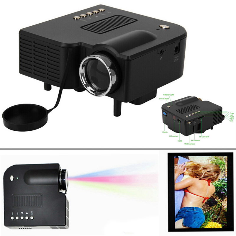 60 inch pocket led video projector home theater hdmi vga for Pocket projector hdmi input