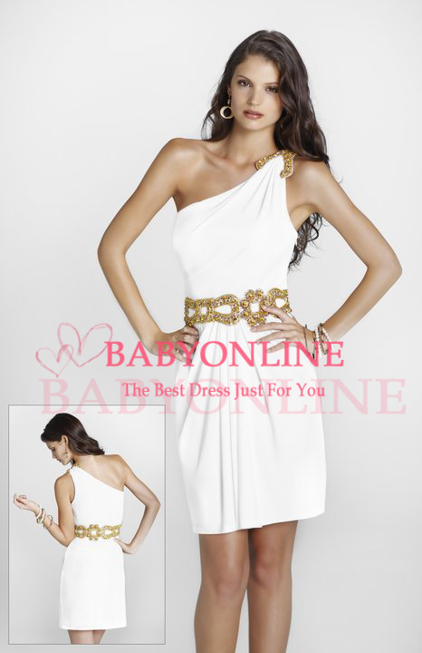 imported party dress on shoulder short imported party dresses white satin beaded BO6494(China (Mainland))