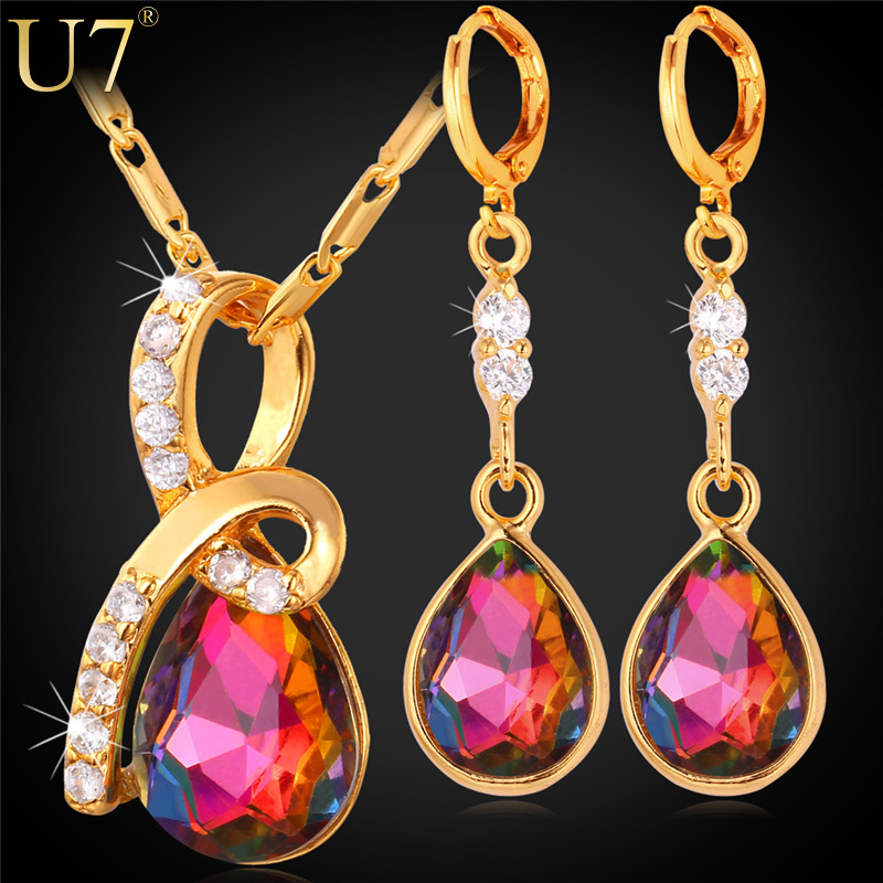 U7 Ruby Jewelry Sets For Women Romantic Gift 18K Gold/Platinum Plated Luxury Cubic Zirconia Earrings Necklace Set Wholesale S735(China (Mainland))