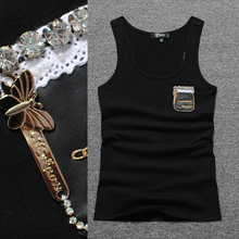 2016 brand new women's high-grade leather pouches stickers Tank tops women 100% cotton vest camais summer blouses plus size(China (Mainland))