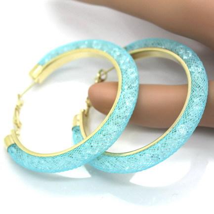 Гаджет  60mm Big Gold Hoop Earrings with Full Crystal Mesh Chain 2015 New Women Earrings 10 Colors None Ювелирные изделия и часы
