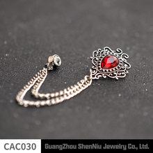 Asli Fashion Merah Biru Kristal Bros Pin Lencana Emas Rantai Medali Bros Setelan Kerah Pin untuk Pria Perhiasan Aksesoris(China)